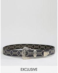 Retro Luxe London - Hand Studded Western Belt - Black - Lyst