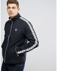 Fred Perry - Sports Authentic Taped Sports Jacket In Black - Lyst