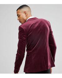 ASOS - Tall Super Skinny Blazer In Burgundy Velvet - Lyst