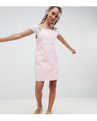 ASOS - Asos Design Petite Denim Gingham Pinafore Dress - Lyst