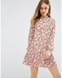 First & I - Floral Drop Waist Shirt Dress - Lyst