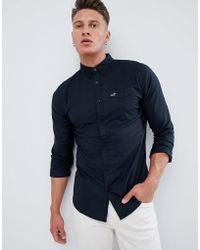 Hollister - Oxford Modern Button Down Collar Solid Shirt Slim Fit In Black - Lyst