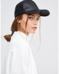 New Look - Leather Look Cap - Black - Lyst