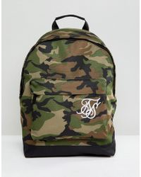 SIKSILK - Backpack In Camo - Lyst