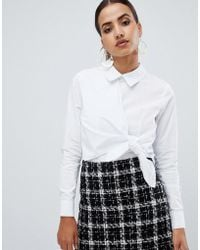 Fashion Union - Shirt With Tie Front Detail - Lyst