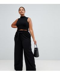 Missguided - Paper Bag Waist Wide Leg Trousers In Black - Lyst