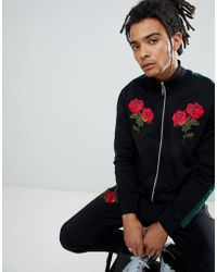 Criminal Damage - Track Top In Black With Roses And Taping - Lyst