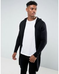 ASOS - Hooded Open Front Cardigan With Curved Hem In Black - Lyst