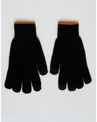 River Island Touch Screen Gloves With Contrast Rib In Black