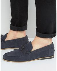 ASOS - Tassel Loafers In Navy Faux Suede With Fringe - Lyst