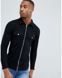 Liquor N Poker - Shirt With Zip Cuff In Washed Black - Lyst