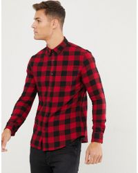 New Look - Regular Fit Shirt In Red Check - Lyst