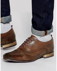 ASOS - Brogue Shoes In Brown Leather With Coloured Tread - Lyst