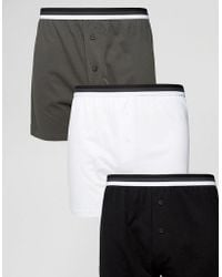 ASOS - Jersey Boxers In Monochrome With Stripe Waistband 3 Pack Save - Lyst