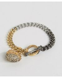 Juicy Couture - Champagne Ombre Heart & Chain Bracelet - Lyst