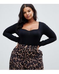fa224ad3727ffd ASOS - Asos Design Curve Body With Long Sleeves And Sweetheart Neck In Black  - Lyst