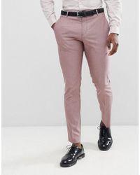 SELECTED - Slim Suit Trouser In Rose - Lyst