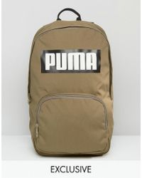 PUMA - Logo Backpack In Khaki Exclusive To Asos - Lyst