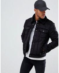 Armani Exchange - Faux Shearling Worker Jacket In Black - Lyst