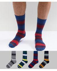 Jack & Jones - Stripe Socks In 4 Pack - Lyst