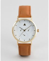 ASOS - Design Sub Dial Detail Leather Watch - Lyst