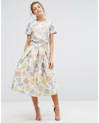 True Decadence - Floral Midi Skirt In Jacquard Co Ord - Lyst