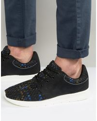 Pull&Bear | Woven Trainers In Black And Blue | Lyst