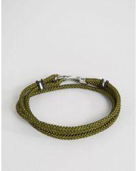 Seven London - Cord Wrap Bracelet In Khaki - Lyst