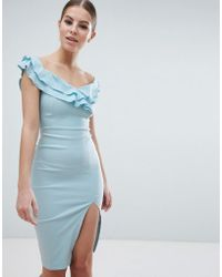 Vesper - Sweetheart Plunge Midi Pencil Dress With Thigh Split - Lyst