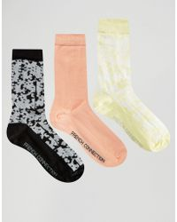 French Connection - 3 Pack Print & Plain Socks - Coral/yellow/white - Lyst