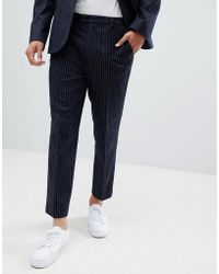 ASOS - Tapered Suit Trousers In Navy Wool Blend Pinstripe - Lyst