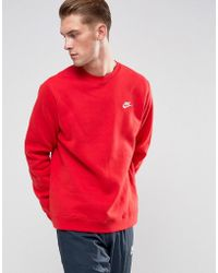 Nike - Club Swoosh Crew Sweatshirt In Red 804340-657 - Lyst