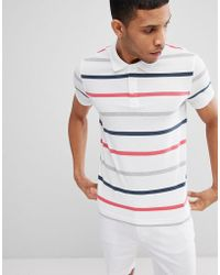Benetton - Polo In White With 3 Colours Stripe - Lyst