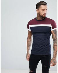 ASOS - Design T-shirt With Colour Block In Navy - Lyst