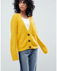 ASOS - Knitted Cardigan In Oversized Rib With Buttons - Lyst