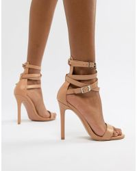 PrettyLittleThing - Ankle Wrap Detail Barely There Heeled Sandals In Nude - Lyst