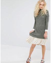 I Love Friday - High Neck Knit Dress With Contrast Hem - Lyst