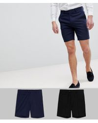 ASOS - 2 Pack Smart Shorts In Black And Navy Save - Lyst