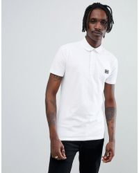 Antony Morato - Jersey Polo Shirt In White With Logo - Lyst