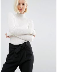 SELECTED - Long Sleeve Knit Rib Turtleneck - Lyst
