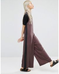 ADPT - V Neck Wide Jumpsuit With Contrast Side Panel - French Roast - Lyst