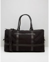 Barneys Originals - Barneys Canvas Holdall In Black With Leather Trims - Lyst