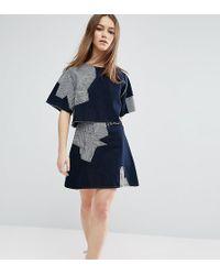 WÅVEN - Contrast Patchwork Skirt - Lyst