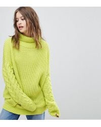 PrettyLittleThing - High Neck Cable Sleeve Jumper - Lyst
