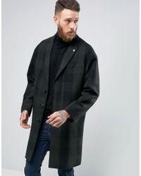 Original Penguin - Penguin Formal Green And Navy Check Overcoat - Lyst