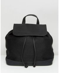 Pieces - Mesh Backpack With Foldover Top - Lyst