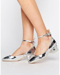 Lost Ink Silver Block Heeled Ankle Tie Shoes shop for sale reliable ujRAuH3dC