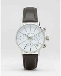 Simon Carter - Chronograph Leather Watch With White Dial In Brown - Black - Lyst