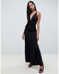 ec44ac151a403 ASOS - Maxi Dress With Knot Front And Open Back In Crepe - Lyst