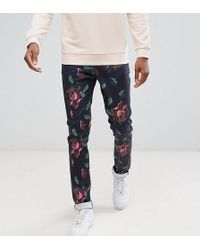 ASOS - Tall Skinny Trousers In Oversized Rose Print - Lyst
